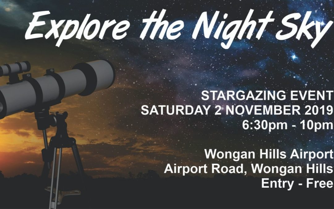 Poster for Wongan Hills Explore the Night Sky stargazing event
