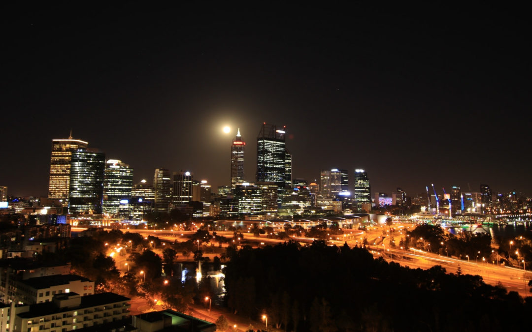 Supermoon Rising Over Perth City